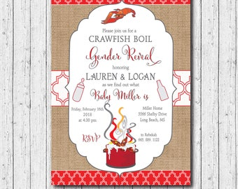 Crawfish Boil Gender Reveal Invitation printable/Digital File/seafood boil, he or she, couples crawfish boil, shower/Wording can be changed