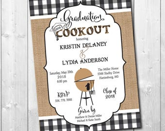 Graduation Cookout Party Invitation printable/Digital File/senior, class of 2018, grilling, bbq, burgers/Wording & Colors can be changed