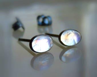 Stud Earrings Sterling Silver - Moonstone Stud Earrings - Silver Stud Earrings - Rainbow Moonstone Post Earrings