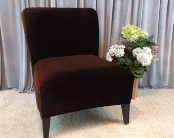 Slipcover Brown Velvet Chair Cover for Armless Chair, Slipper Chair, Accent Chair, Parsons Chair,Gold,Gray,Navy,Beige,Teal,Cranberry