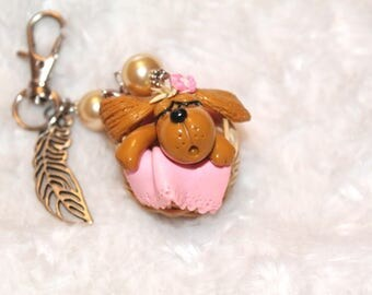 Jewelry bag or small dog Keyring asleep in her basket of polymere clay