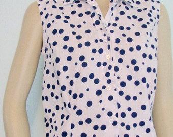 Vintage Polka Dots Blouse 1960s Rico Top Novelty Rockabilly