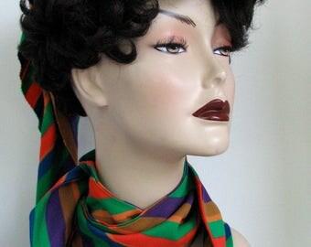 Vintage Mod Hat Orange and Green Mod Evelyn Varon Scarf Set Striped