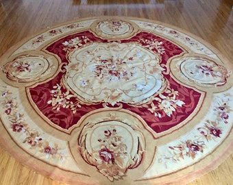 French Style Aubusson Wool Rug Needlepoint Medallion Rose Garland 8 feet Round