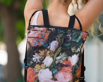 "Fabric backpack ""Imressionist Flowers"""