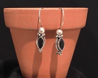Vintage Black Onyx  Earrings...Sterling Silver Earrings...Handcrafted...Ethnic...Gypsy...Hippie...Vintage Shop