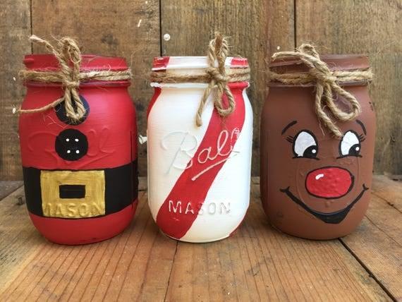 Painted Mason Jars Christmas Mason Jar Santa Jar Candy Cand