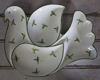 Vintage SECLA Portugal Dove-Shaped Ceramic 4-Section Appetizer Holiday Platter Tray