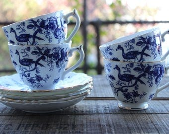 Vintage Coalport - Cairo - Blue - Bone China Footed Cups and Saucer - Set of 4