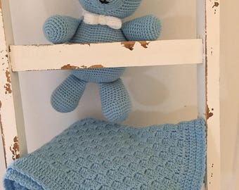 Crochet baby blanket throw baby toy Blue soft toy handmade newborn baby amigurumi toy blanket pram cot baby shower gift Etsy Australia