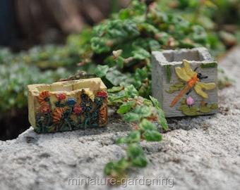 Mini Planters, 2 Piece Set for Miniature Garden, Fairy Garden