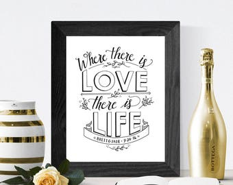 PERSONALIZED Hand Lettered Quote Wall Art // Wedding Gift // Ghandi Quote // Where There is Love, There is Life
