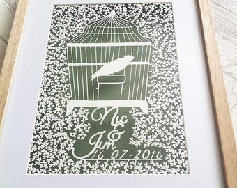Framed beautifully hand drawn, hand cut, personalised detailed birdcage papercut, perfect for that special gift, by Kirsty's Papercut Arts