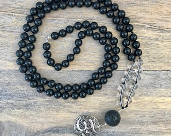 POSITIVE VIBES Onyx Mala Necklace with Om Charm / 108 Mala Beads / Mens Mala Beads / Yoga Necklace / Meditation Necklace / Knotted Japa Mala