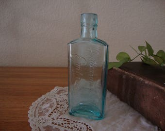 "Scarce Antique Aqua Blue Glass ANDERSON GRATTON'S EMBROCATION ""all in cursive"" quack remedy Liniment medicine Bottle"