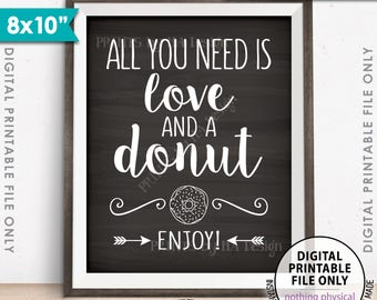 "All You Need is Love and a Donut Sign, Bridal Brunch Doughnut Wedding Sign, Breakfast, 8x10"" Chalkboard Style Printable Instant Download"