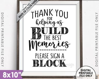 """Sign a Block Sign, Thank You for Helping Us Build Memories Wedding Sign, Graduation, Retirement, PRINTABLE 8x10"""" Sign <Instant Download>"""