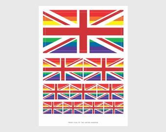 United Kingdom Pride Flag Weatherproof Sticker Sheet / 10 Flag Stickers Various Sizes