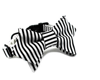 Luxury Dog or Cat Bow Tie - The SLOANE // Femme (black/white stripe print)