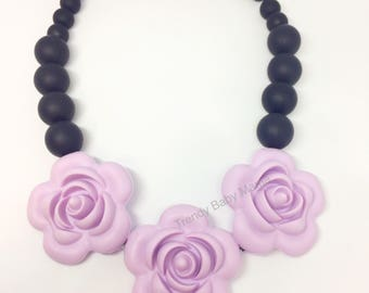 Rose Teething Necklace - Necklace for Mom - Flower - Teething Baby - Baby Chew Beads - BPA Free - Violet Pastel -Silicone - Baby Teether Toy