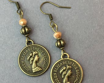 "Earrings Coin ""Queen"" in bronze//statement//gift for you//"