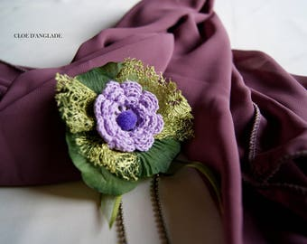 Stole lilac, purple scarf with its purple and green, jewelry gift idea