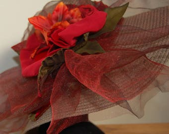 Taupe wedding Cape and red-orange with organza and silk