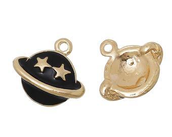 2 Golden black Saturn 14x13mm enameled star charms