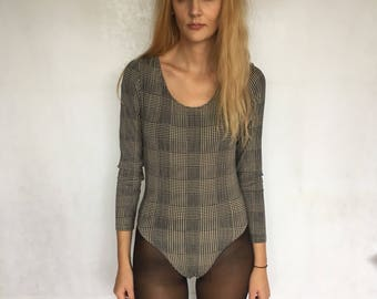 90s Vintage Checkered Long Sleeve Bodysuit