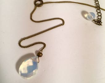 Lariat Moonstone Brass Necklace