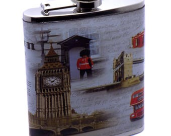 Stainless Steel & Leather Pocket London Flask Alcohol Whiskey Liquor Bottle 7 oz. / 207 ml Perfect Gift