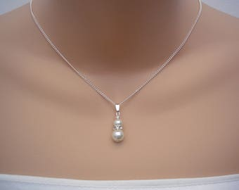 Diana ~ Dainty Pearl and Crystal Diamante Pendant Necklace, Bridal bridesmaid Wedding Prom  (57nd)