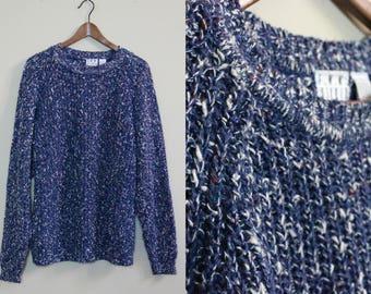 Blue Marled Oversized Slouchy Sweater