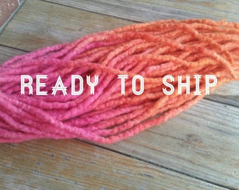 wool double ended dreads // 25 DE dreads (50 ends) // sherbet dreads // natural looking woolies // double ended dreads