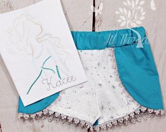 Girls Frozen Shirt- Frozen outfit- Elsa Shirt- Elsa Outfit- Toddler Girls- Elsa Inspired Shorts- Baby Girl- 6m, 12m, 18m, 2t, 3t, 4, 5, 6 8