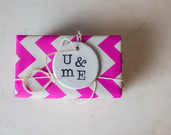gift tag, clay gift tag, you and me, you and me tag