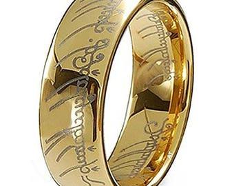 Elvish Script Ring 18K Gold Plated Wedding Band Ring -Tungsten Carbide Ideal For Men - Women - Wedding -Anniversary- Birthday- 7mm