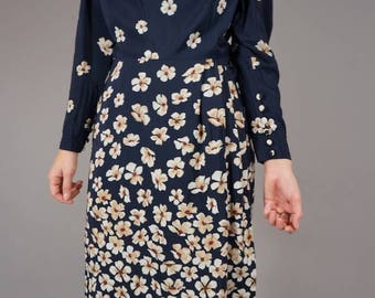 Valentino Silk Pencil Dress with Flowers