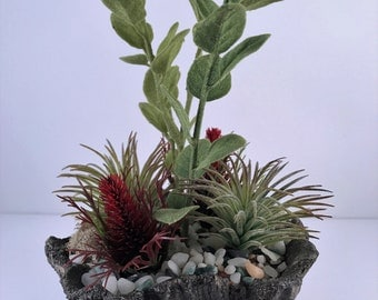 Artificial Succulent Red Coned Planter / Succulent Arrangement / Artificial Succulent Arrangement