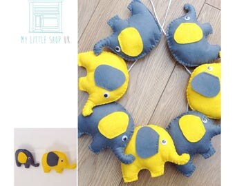 Nursery yellow and grey elephant felt bunting / garland