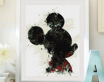 Mickey Mouse cross stitch pattern  PDF, Mickey Mouse patron punto de cruz. Cross stitch modern pattern pdf (#3)