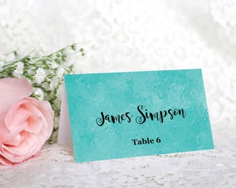 Tiffany Blue Wedding Place Cards, Light Green Place Card, Printable Template, Wedding Escort Card, Printable Name Card, DIY, MS Word, S033