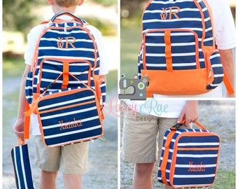 Navy and white stripe boys Personalized Backpack, Lunchbox, Pencil pouch, Preschool backpack, Monogrammed, School Age Backpack, orange