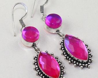 Gorgeous Natural stone Mystic Rainbow Topaz Sterling silver Earrings - Sterling Silver Earrings- Natural Gemstone Earrings - Dangle Earrings