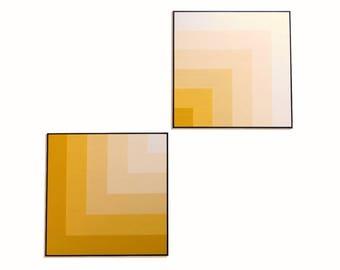 3D Geometric Art blocks, Set of TWO paintings in Mid century modern style