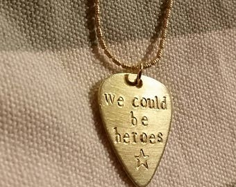 Bowie - Heroes brass guitar pick necklace