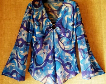 OUTLET! 20% Off Authentic Vintage 70s psychedelic Print pure silk Blouse sz 44 ita Made in Italy