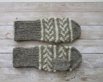 Gray Wool Mittens, Knitted Mittens, Sheep Wool Mittens, Hand-knitted Wool Mittens, Women's Mittens, Men's Mittens, READY TO SHIP