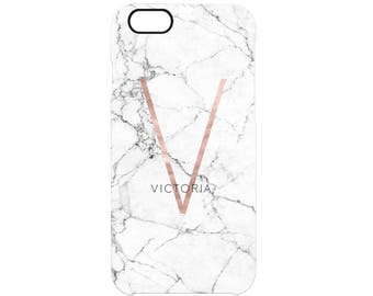 Rose Gold Initial & Name White Marble Personalised Calligraphy Custom Name Phone Case Apple Samsung