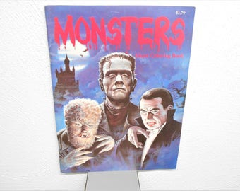 vintage 1986 monsters giant coloring book frankenstein dracula wolfman nos - Giant Coloring Book